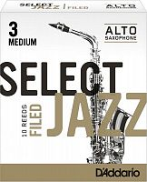 D`ADDARIO WOODWINDS RSF10ASX3M Select Jazz Filed Alto Saxophone Reeds, 3M, 10 BX
